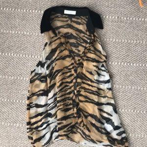 Equipment - animal print, velvet collar, sheer top